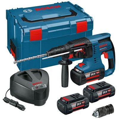 bosch gbh36vfli3 36v cordless li ion sds plus rotary hammer drill 3 x 4ah batteries with quick. Black Bedroom Furniture Sets. Home Design Ideas