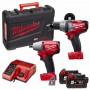 Milwaukee M18 PP2B-502C - M18 'Fuel' Brushless Twin Pack - Combi Drill & Impact Wrench - 2 x 5.0ah Li-ion Batts